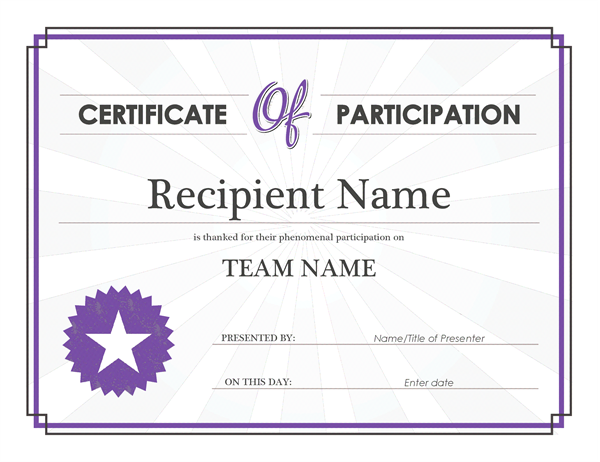 Certificate of participation Office Templates