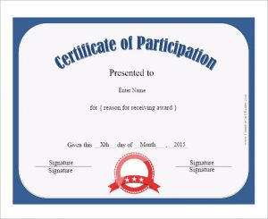 Certificate Participation. © 2017 Certificates Templates Free.  Certificate Of Participation Free Template