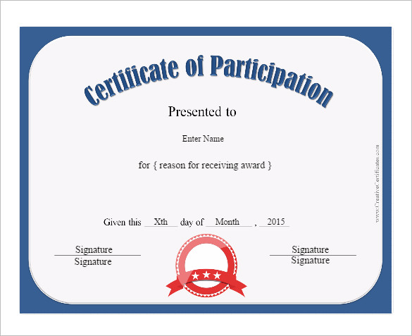 participation certificates templates participation certificate
