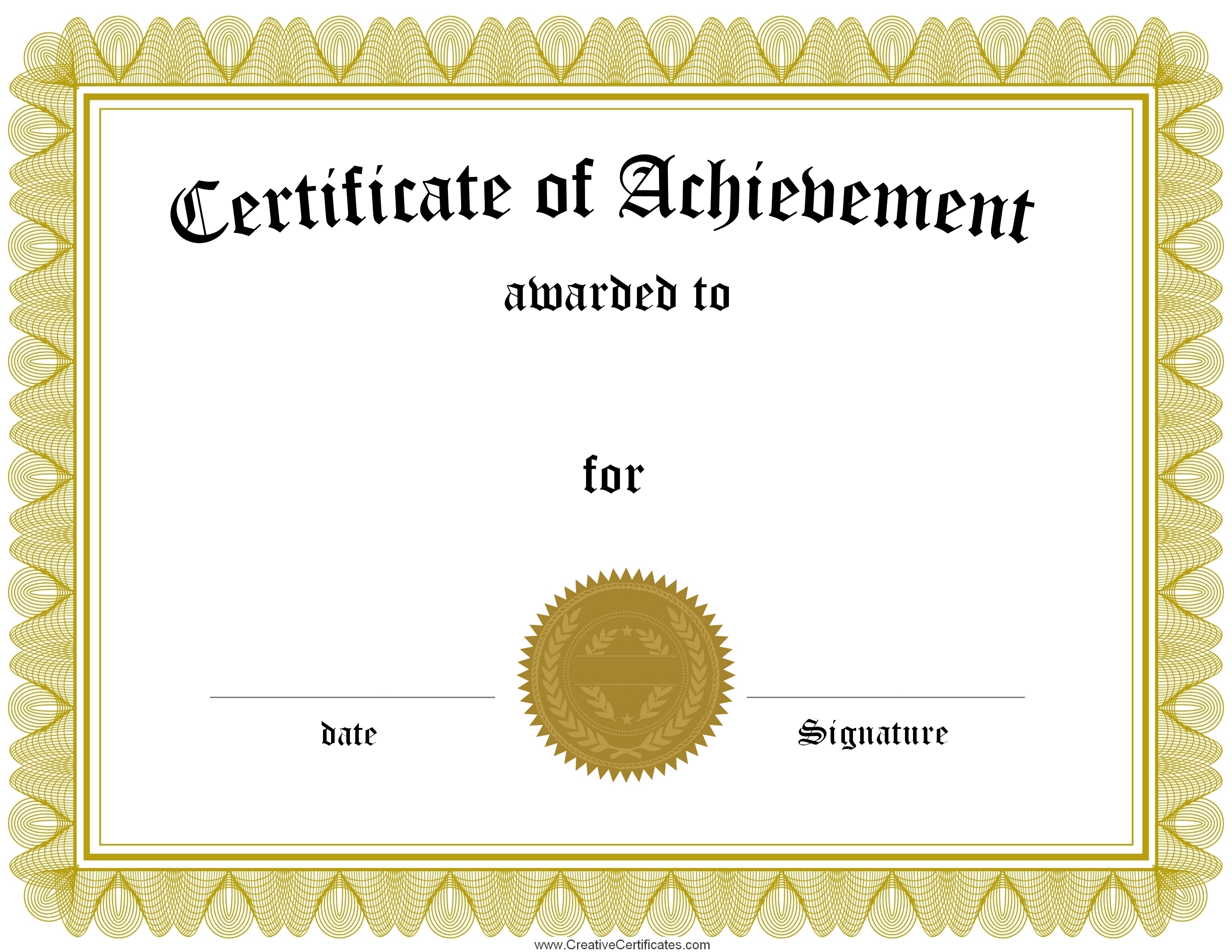 achievement formal Award Certificate printable blank