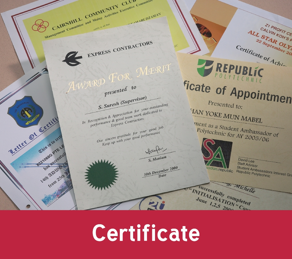 Certificates printing service Singapore Ultra Supplies Queensway