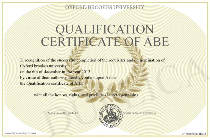 Qualification certificate of ABE