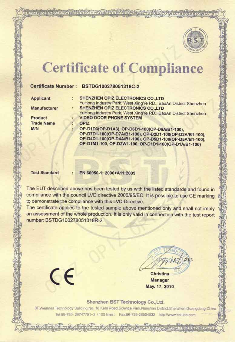 Qualification Certificate OPIZ