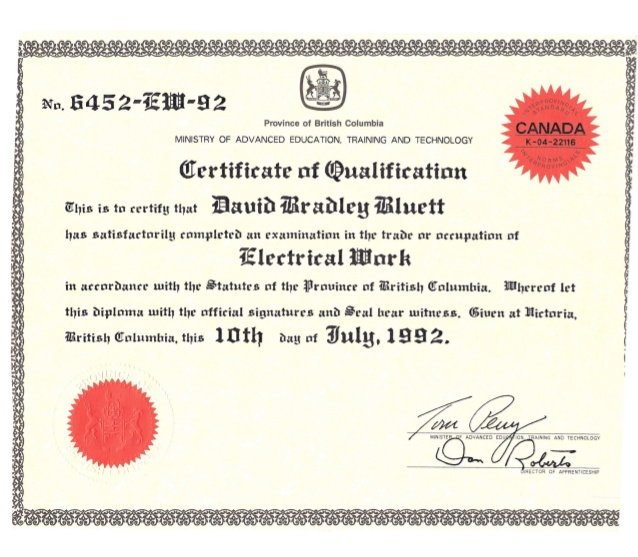 Certificate of Electrical Qualification