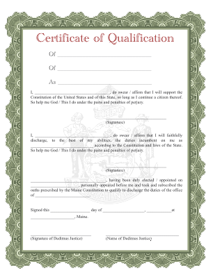 DedimusJustice.org: Blank Certificate of Qualification