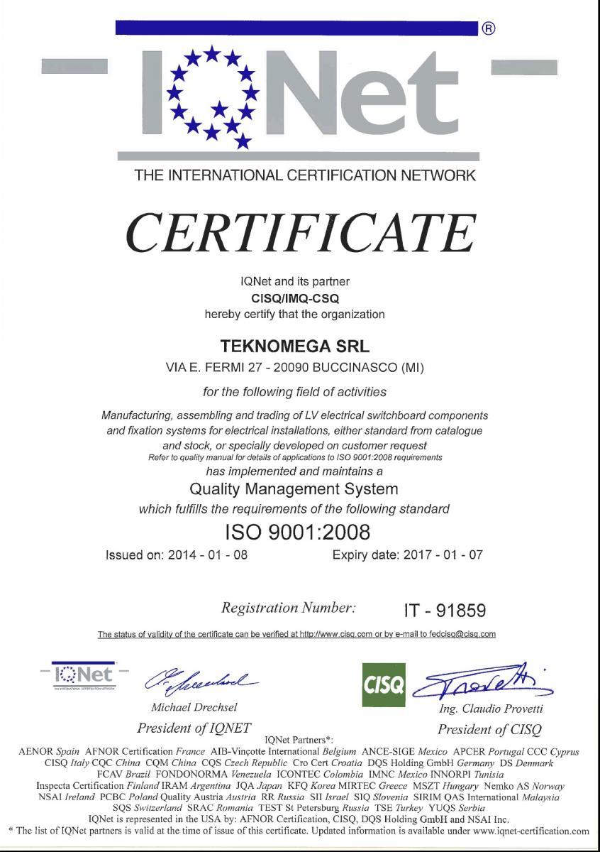 Certification of Quality Teknomega | Teknomega Srl