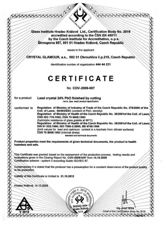 Certificate of quality Bohemia crystal