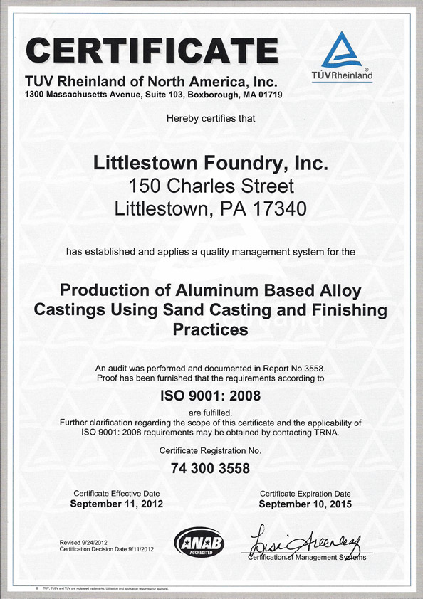 Littlestown Foundry, Inc. ISO Certificate of Quality System