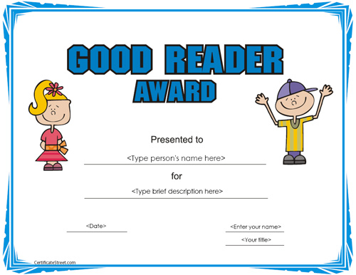 Awesome Reader Reading Certificate Demco.