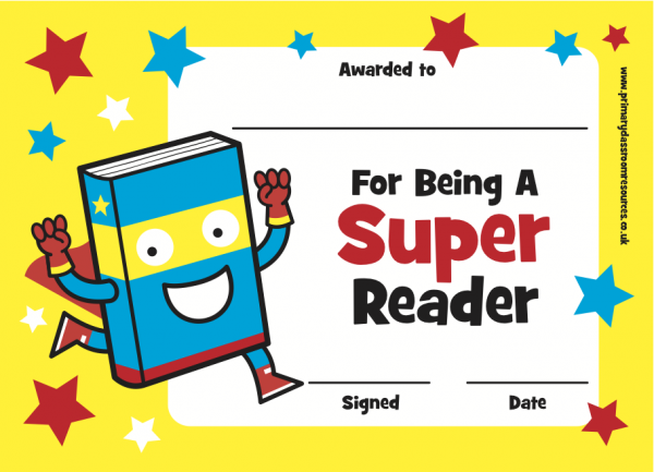Super Reader Certificate Ready Made