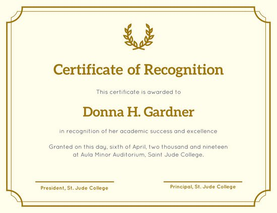 templates for certificates of recognition - Certificate Of Recognition Template
