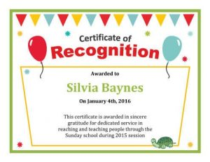 wordings for certificate of recognition