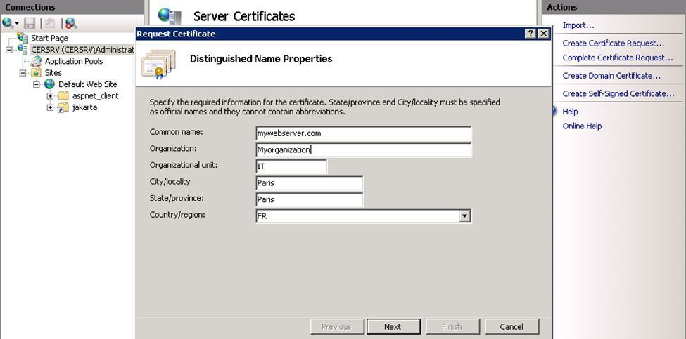 How to Create a IIS 7 Web Server Certificate Signing Request (CSR