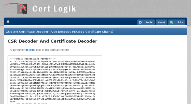 Access certlogik.com. CSR Decoder and Certificate Decoder | CSR