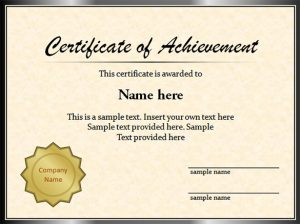 Certificate sample for school project certificates templates free certificate sample yadclub Gallery