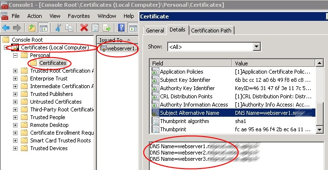 ldap389Powershell: Enterprise CA, Create SAN certificates for IIS7