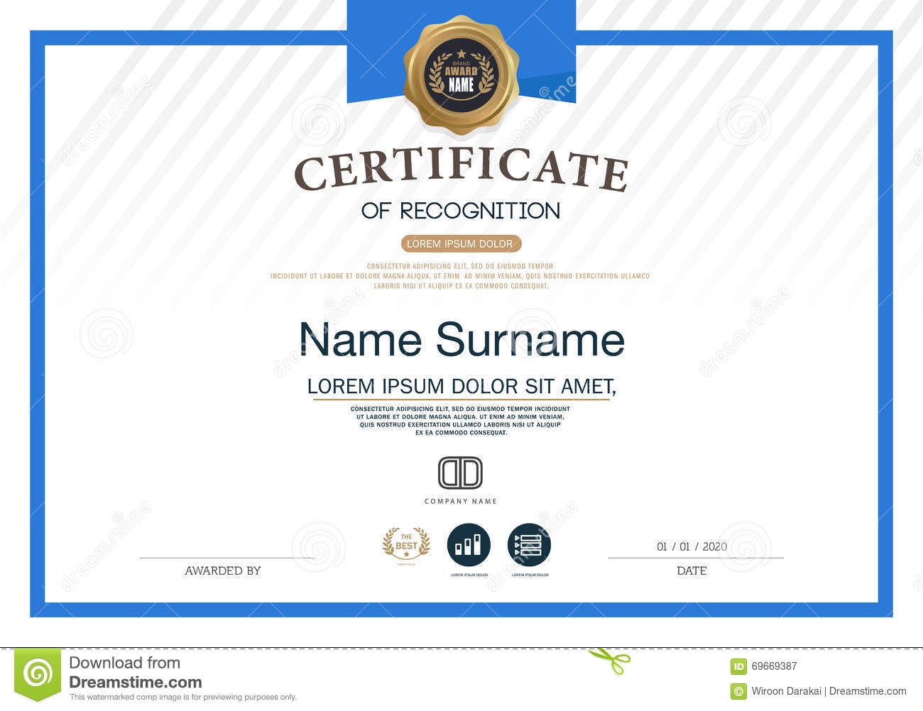 Certificate Frame Design Template Layout Template In A4 Size Stock