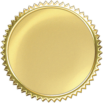 32 Gold embossed congratulations certificate award seal stickers