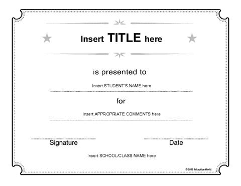 Generic Certificate Template | Education World