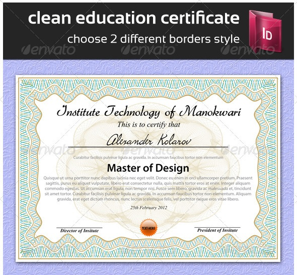 Certificate Template Indesign | recommendation letter template