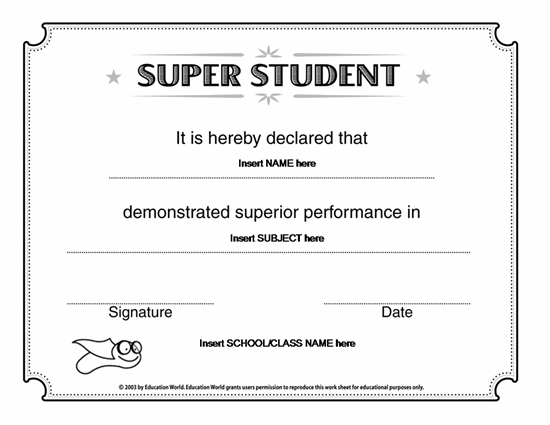 microsoft word template certificate microsoft word super student