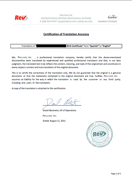 Birth Certificate Translation Service | Rev