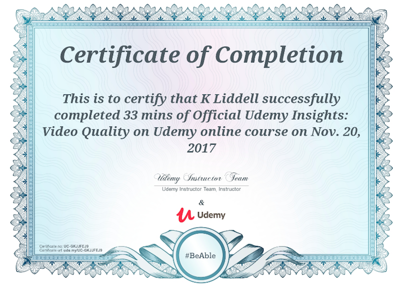 Certificate of Completion – Udemy