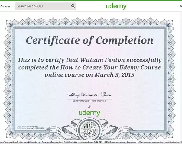 Does Udemy provide certificates upon completion of any course? | E