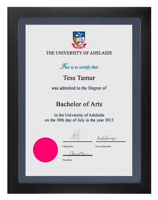 Degree Certificate Frame for University of Adelaide | GownTown