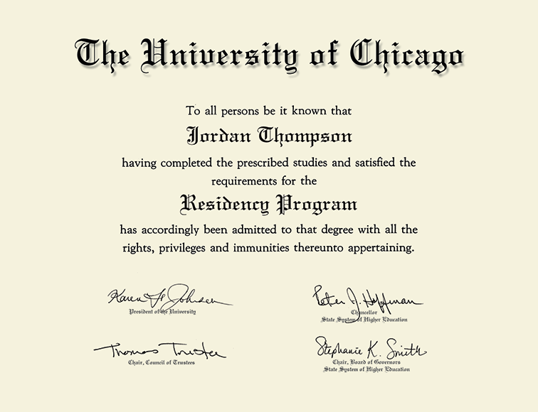 University of Chicago Gold Embossed Certificate Frame in Cambridge