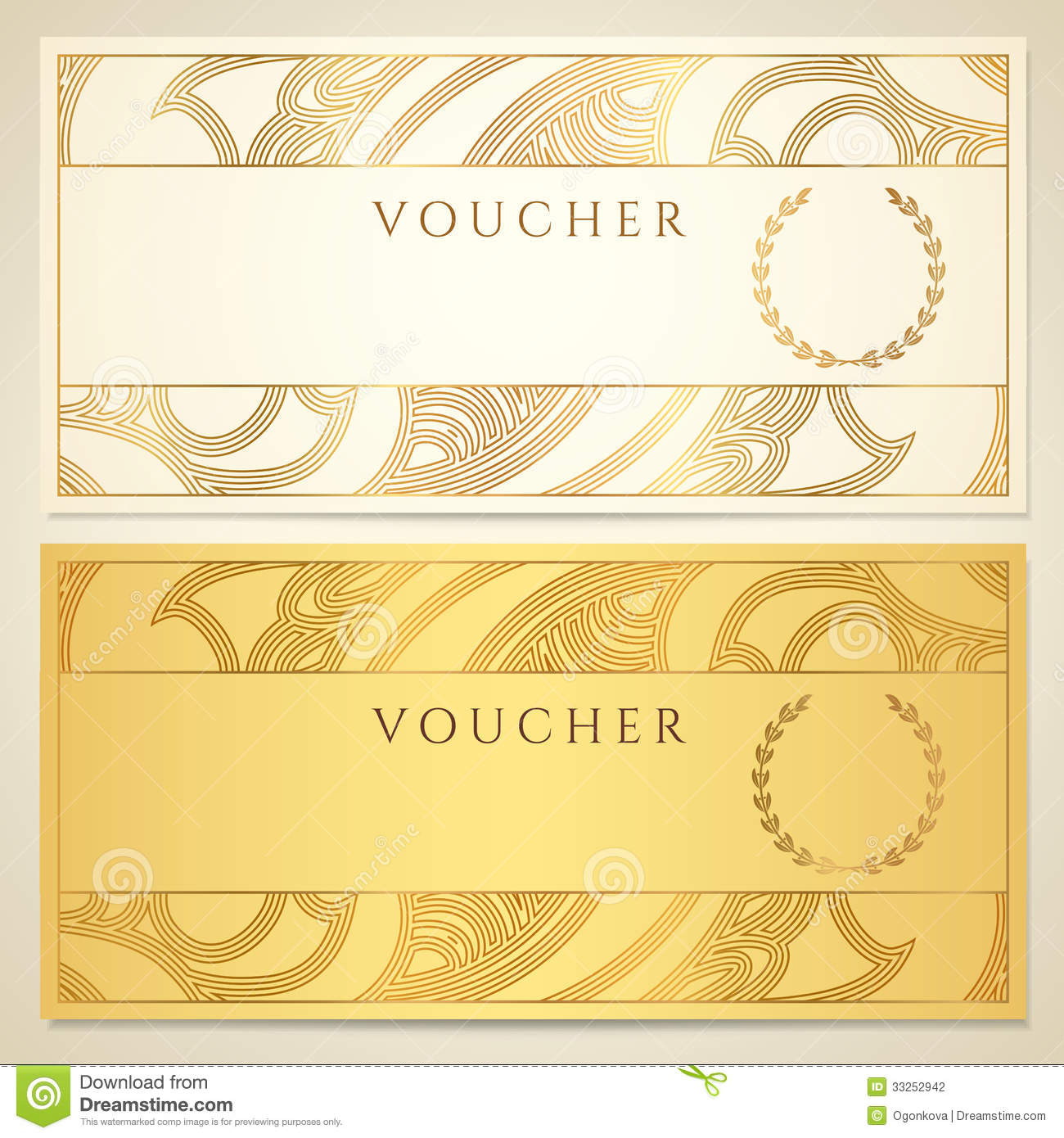 Voucher, Gift Certificate, Coupon Template. Stock Photo Image