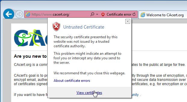 windows 7 Install SSL certificate from an untrusted website into