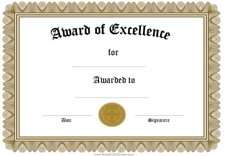 word template for certificate award certificates word doc office