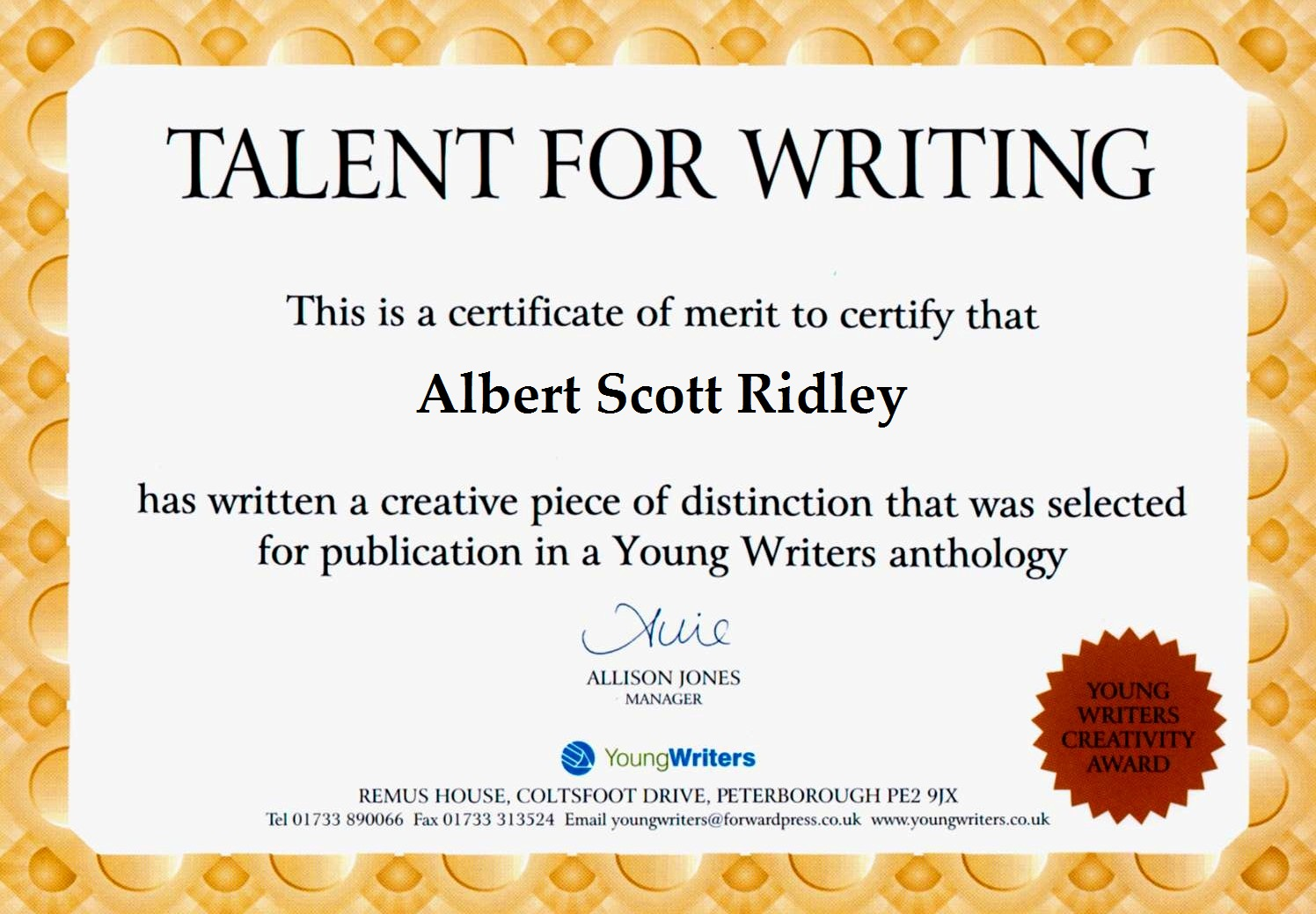 Talent for Writing Competition Award Certificate Template