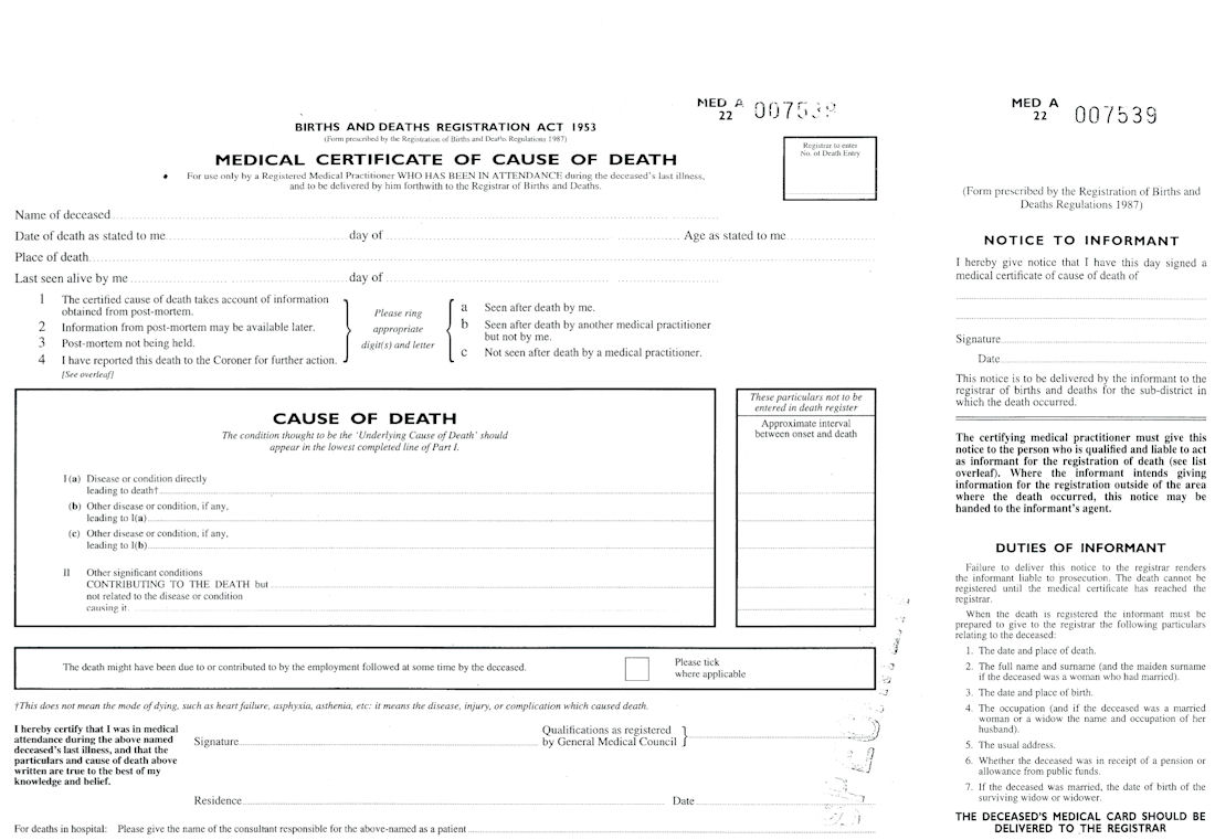 death certificate uk certificates templates free