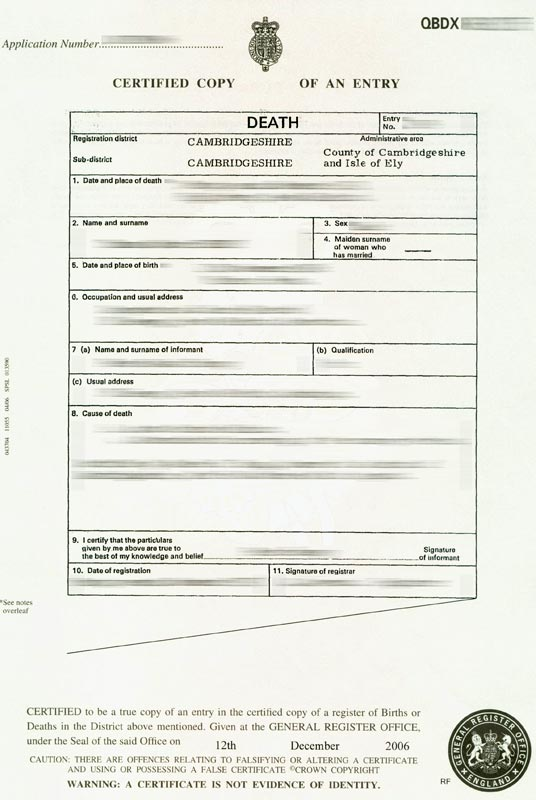 uk death certificate template 12 best images of death certificate