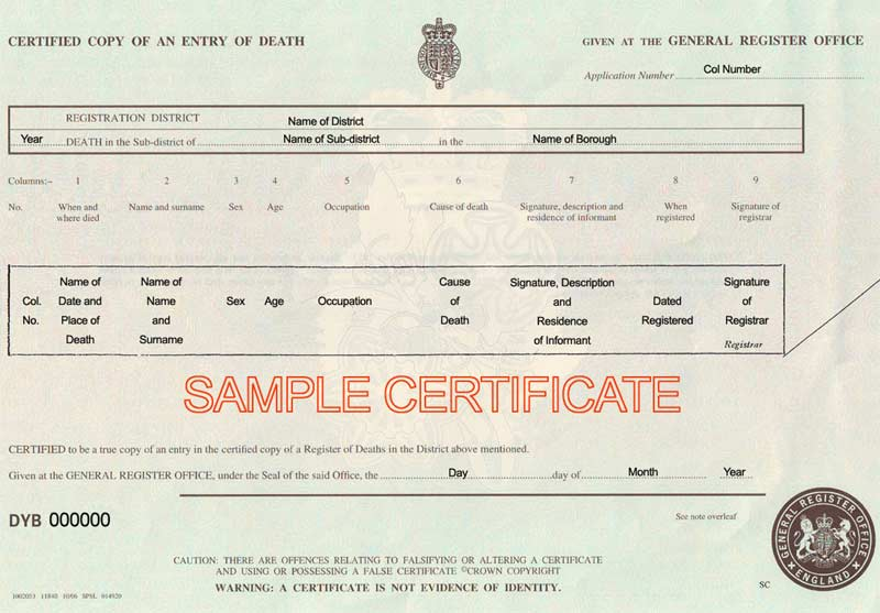 uk death certificate template uk birth marriage and death