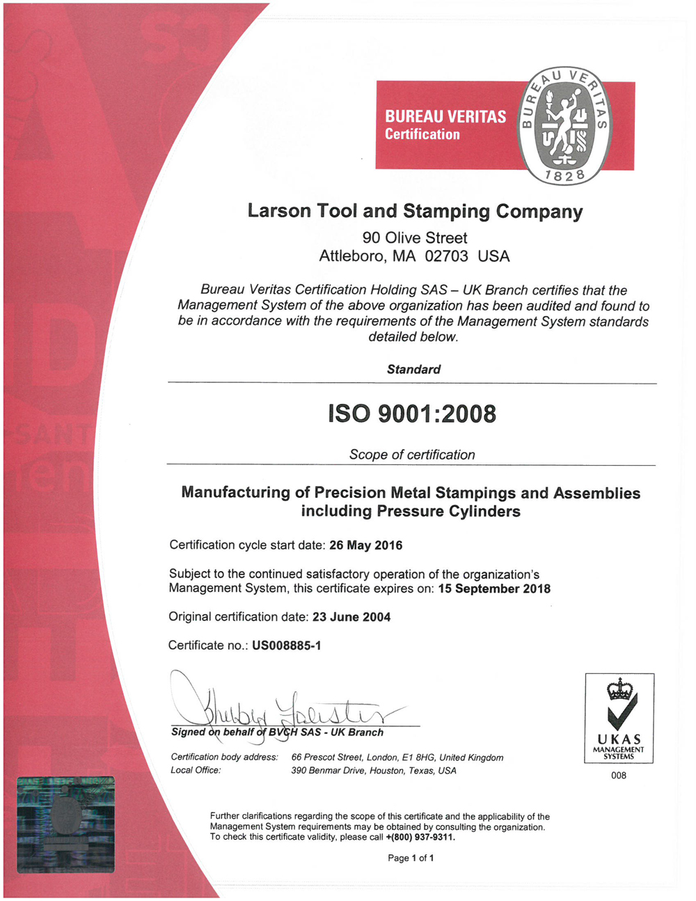 Certification ISO 9001:2008 Larson Tool