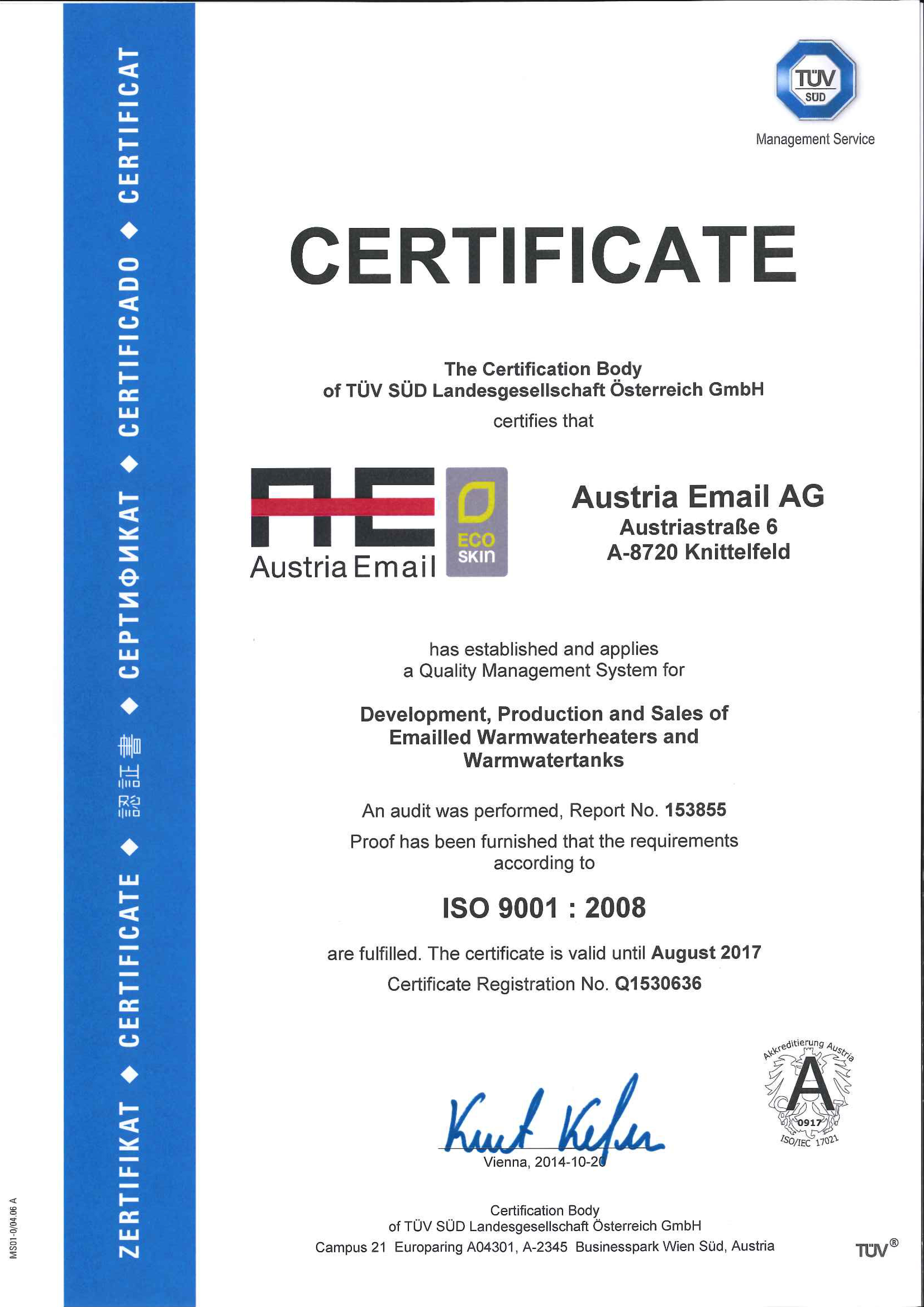 Austria Email AG Certificates ISO 9001 Ecoprofit award