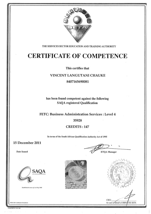 Administration NQF Level 4 Certificate