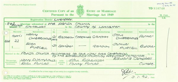 What information can be found on a marriage certificate? Getting