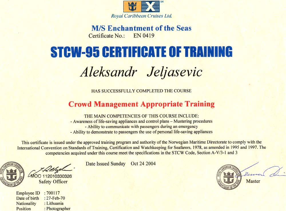 Stcw 95 Certificate Certificates Templates Free