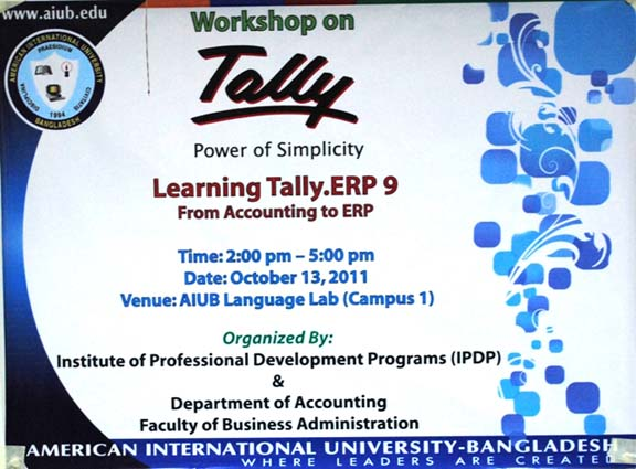 "Workshop on ""Learning Tally.ERP 9 – From Accounting to ERP"