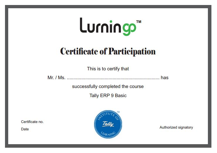 Lurningo Lurningo Tally ERP 9 Basic Course
