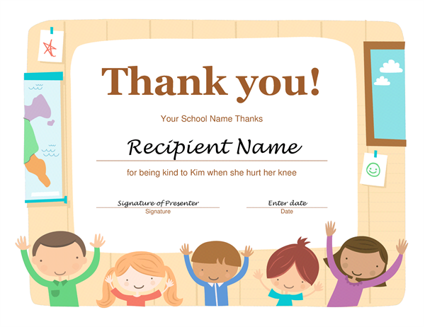 Thank you certificate Office Templates