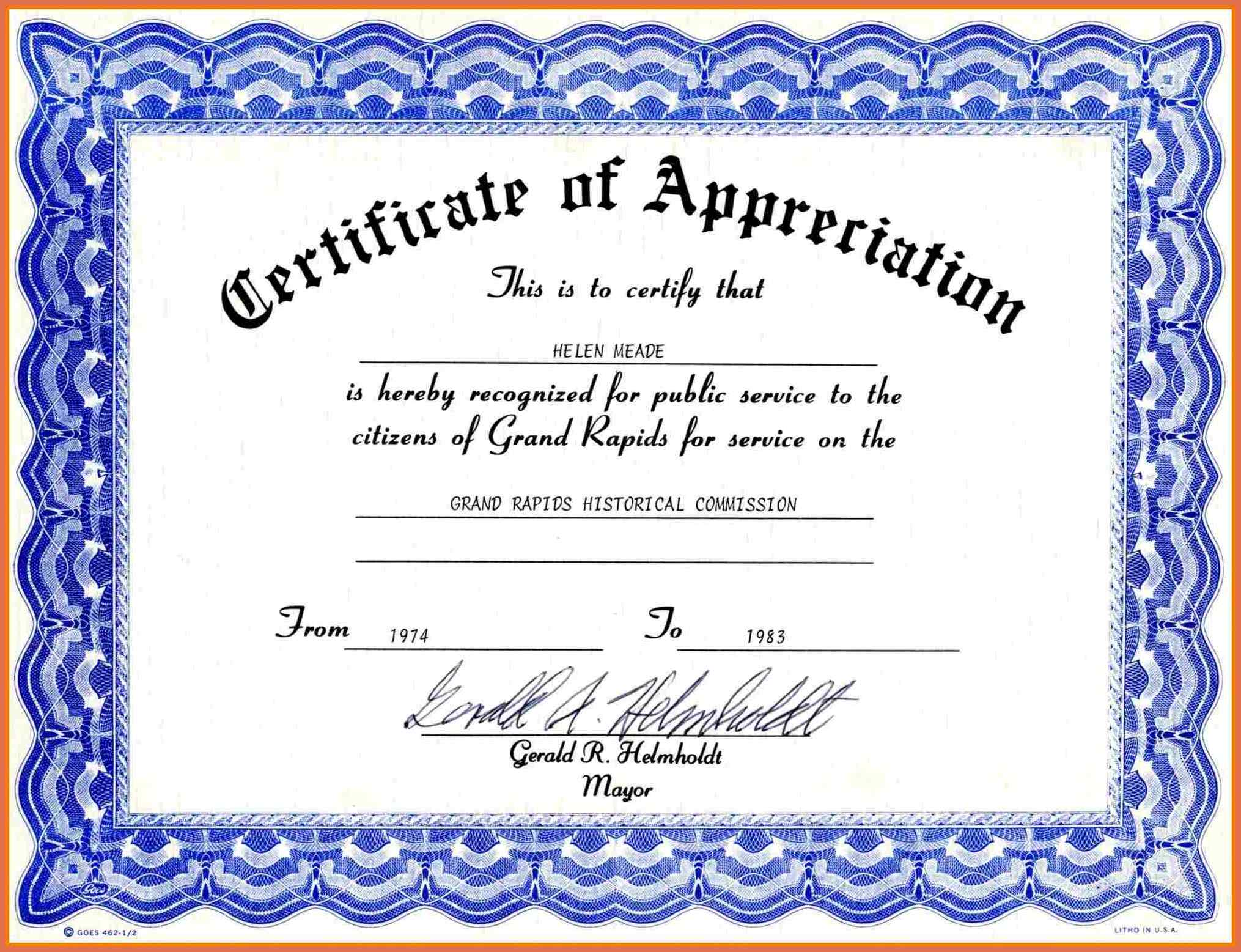 certificate of appreciation template free Expin.franklinfire.co