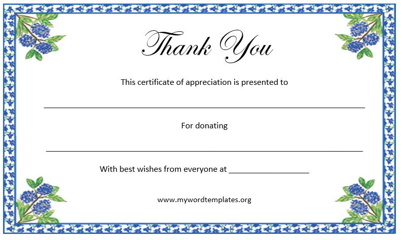Thank You Certificate Template | Microsoft Word Templates