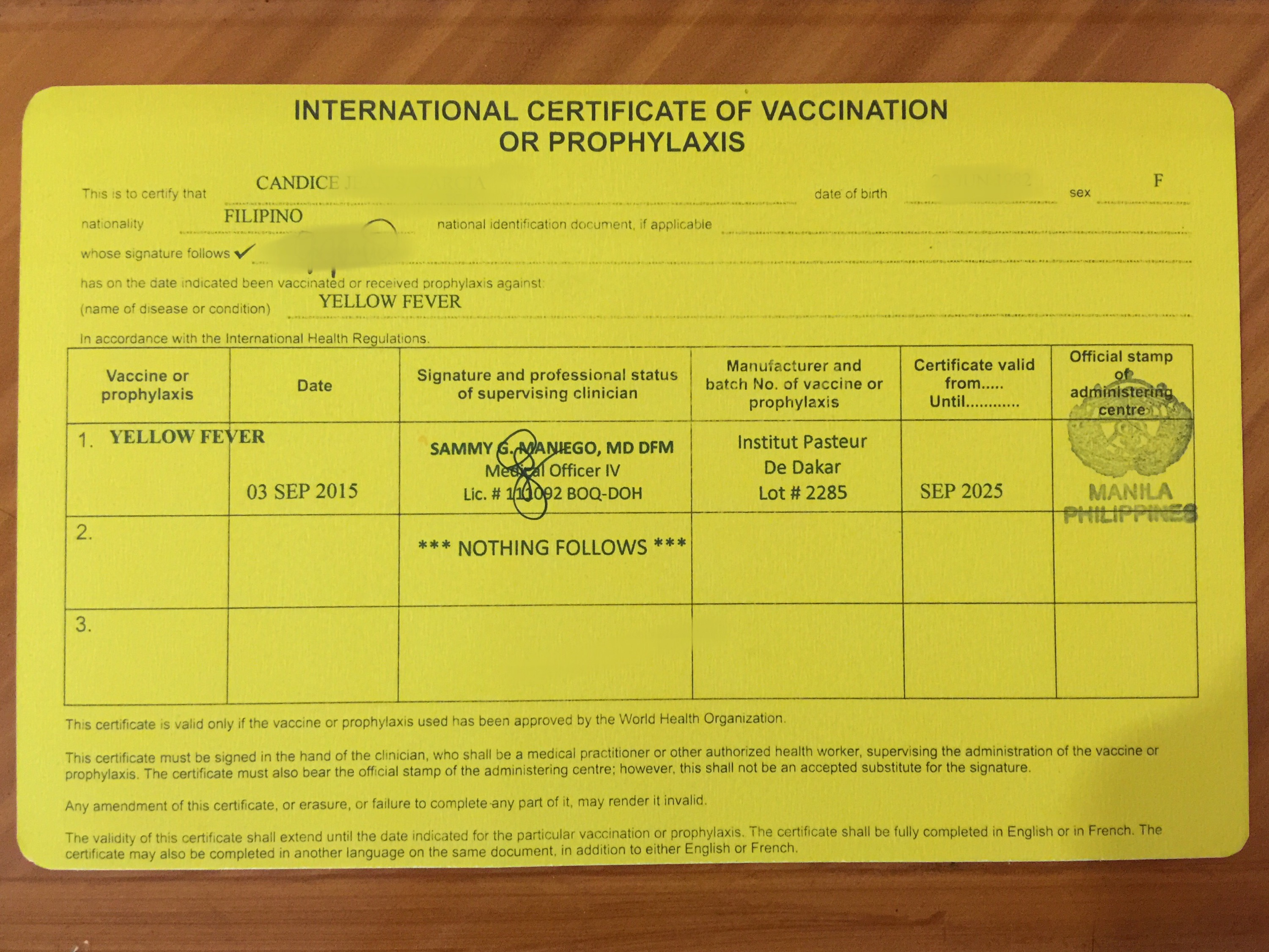 Yellow Fever Vaccination in Mumbai, India