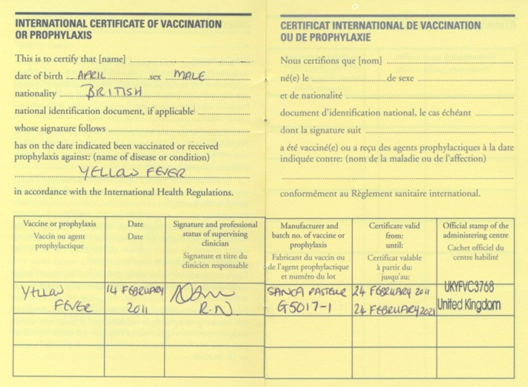 Yellow fever vaccination (and Certificate) Advice and Guidance