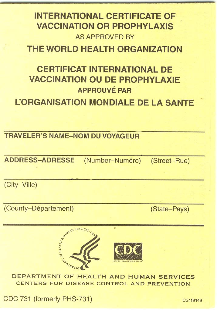 International Certificate of Vaccination or Prophylaxis